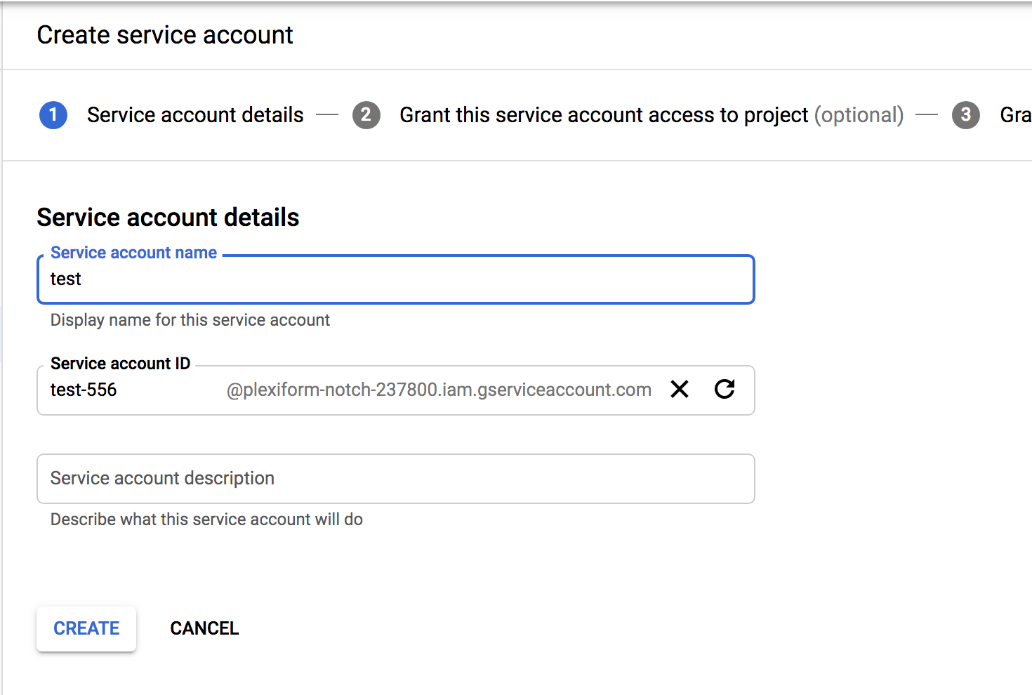 Service account creation Step 1