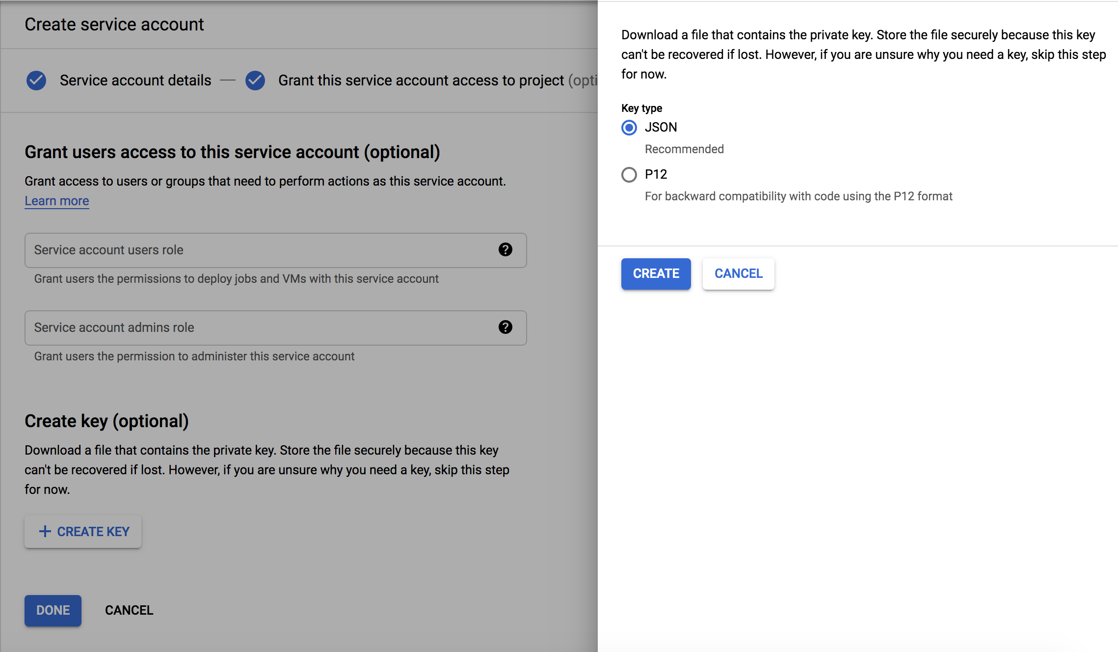Service account creation Step 3
