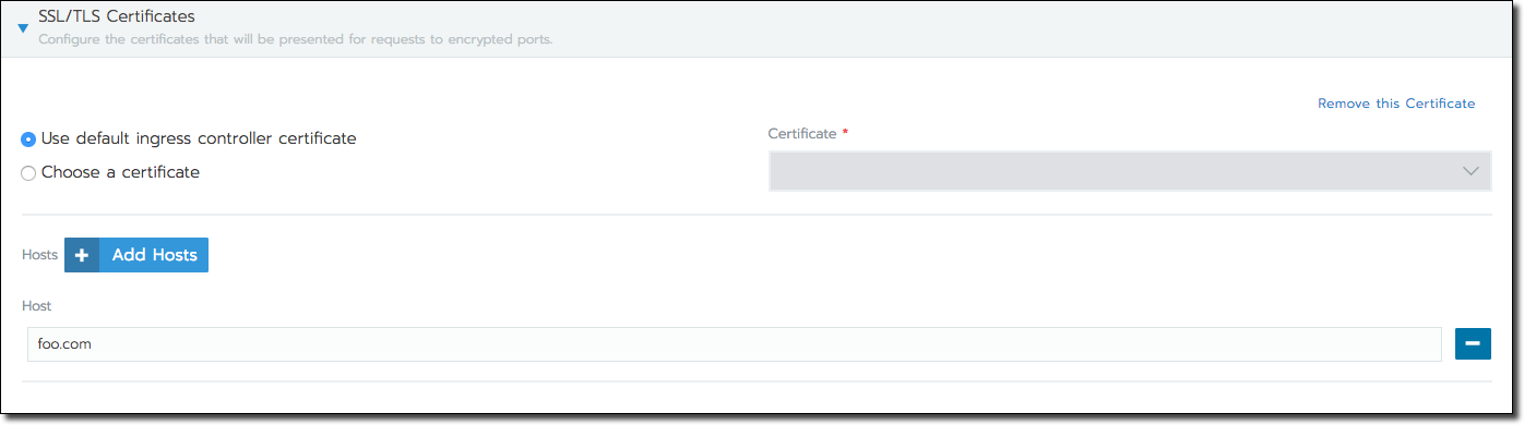SSL/TLS Certificates Section